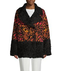 oversized faux-fur & virgin-wool blend print jacket