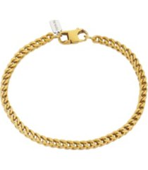 """brushed gold tone stainless steel 4mm franco chain bracelet, 8.5"""""""