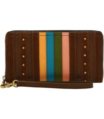 fossil women's logan stripe leather zip around wallet wristlet