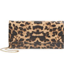 nordstrom selena leather clutch - beige