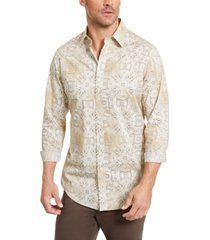 tasso elba men's stretch print woven shirt, created for macy's