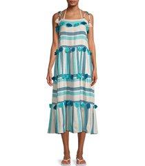 tessora women's lola striped tassel-tier midi dress - blue stripe - size s
