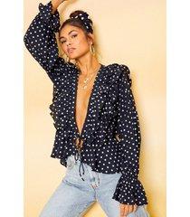 blouse met stippen, ruches en laag decolleté, zwart