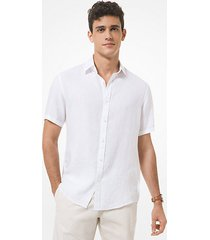mk camicia a maniche corte in lino - bianco (bianco) - michael kors