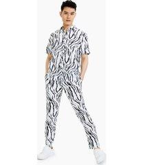 inc international concepts men's zebra print short-sleeve shirt, created for macy's