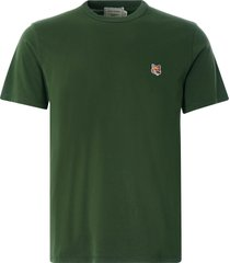 maison kitsune varsity fox classic t-shirt | khaki | 115kj001-khk