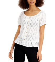 bcx juniors' eyelet peplum top