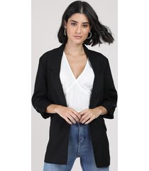 blazer feminino longo com martingale preto