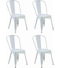 conjunto 04 cadeiras iron branca rivatti