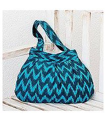 cotton shoulder bag, 'midnight blue zigzag' (guatemala)