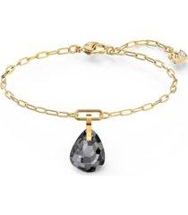 swarovski gold-tone crystal charm link bracelet