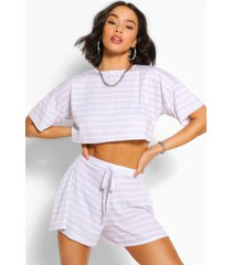 pastel stripe t-shirt & flippy shorts co-ord, grey