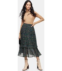 green garden floral pleated hem skirt - dark green