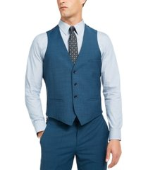 bar iii men's slim-fit active stretch performance teal suit separate vest, created for macy's