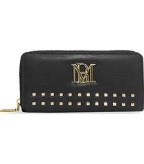 badgley mischka women's studded zip-around wallet - black