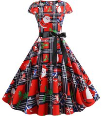 christmas plaid santa claus gift print fit and flare dress