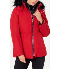 tommy hilfiger faux-fur-trim hooded parka coat