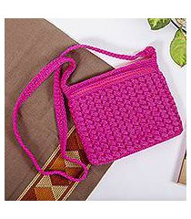 crocheted shoulder bag, 'pure magenta' (mexico)