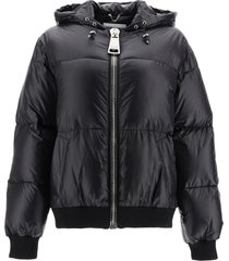 moschino embroidered logo patch down jacket