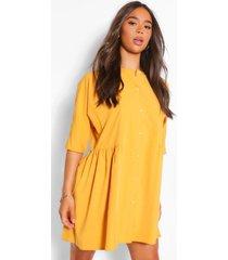 blouse jurk met driekwartsmouwen, mustard