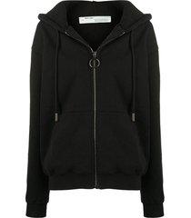 arrows print zipped hoodie