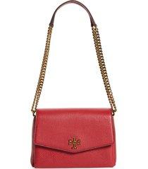 tory burch small kira leather convertible crossbody bag - red