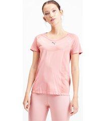 naadloos evoknit t-shirt met korte mouwen voor dames, roze, maat xs | puma
