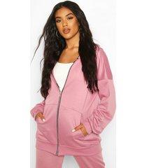 basic oversized zip through hoodie, mink