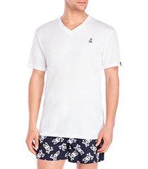 psycho bunny men's classic-fit cotton blend egret white v-neck t-shirt, x-large