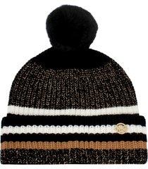 women's michael kors metallic shaker stripe faux fur pompom beanie - black
