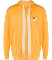 loewe drawstring detail jersey hoodie - orange