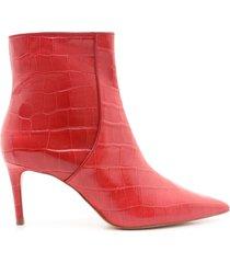 bette bootie - 5 red lipstick crocodile effect leather