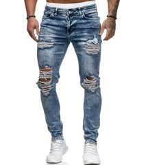 hombres azul ripped knee hole streetwear style jeans
