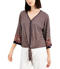 jm collection petite printed tie-hem top, created for macy's