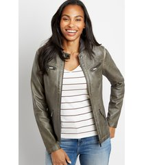 maurices womens hooded faux leather jacket gray