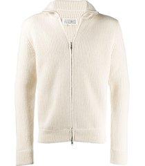 maison margiela ribbed-knit zip-up sweatshirt - neutrals