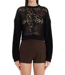 women's valentino blossom macrame crop cotton sweater, size medium - black