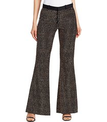 metallic stud wool flare trousers