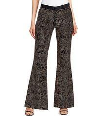 metallic stud wool flare trousers