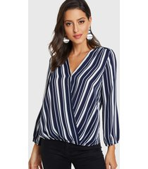 blusa de manga larga con cuello en v cruzado en la parte delantera azul marino
