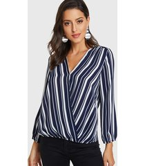 navy stripe crossed front v-neck long sleeves blouse