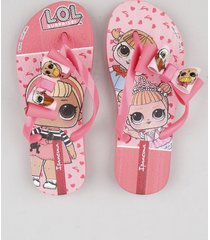 chinelo infantil ipanema bonecas lol surprise com laço rosa