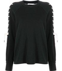 alice+olivia charlotte lace-sleeve sweatshirt - black