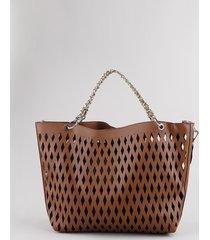 bolsa feminina tote grande com laser cut e alça de corrente caramelo