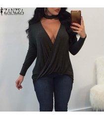 zanzea mujeres plunge cuello en v gargantilla abrigo blusa camiseta más el tamaño de tapa de la túnica -gris