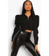 puff sleeve cropped shirt