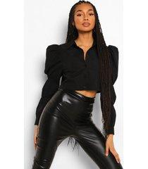 korte blouse met pofmouwen, black