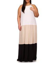 plus size women's michael michael kors colorblock tiered dress, size 1x - white