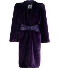 the attico belted faux-fur coat - purple