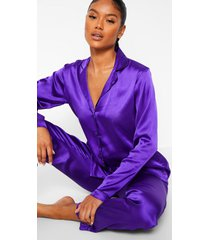 satijnen pyjama set met knopen, purple